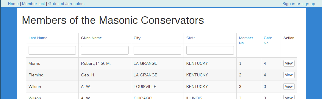 The Masonic Conservators database